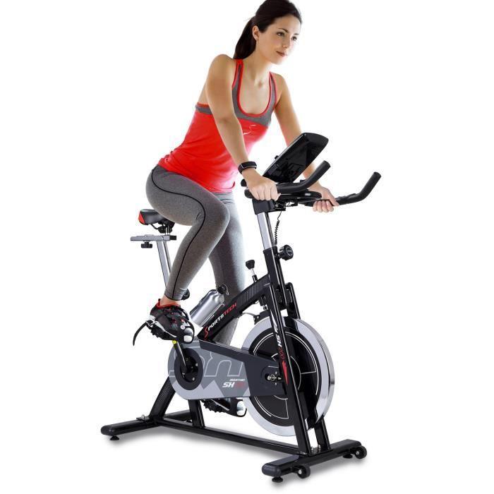 Sportstech Vélo d'appartement ergomètre SX200 + Application Smartphone + Google Street View, Poids d'inertie 22 KG, Supports Bras