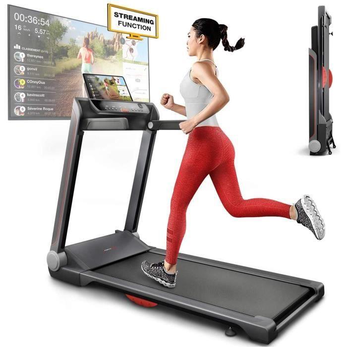 Sportstech FX300 Ultra Tapis de Course -Video Events & Multiplayer APP, Surface de Course g&eacuteante 51x122cm, 16 km-h, Port 8