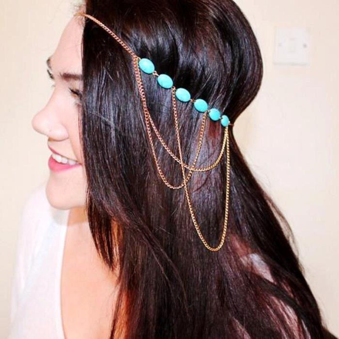 6511 -Haimeikang – bandeau bohème argent et or, accessoires de cheveux, bijoux pour femmes, tête de fleur, chaîne, front, mariage