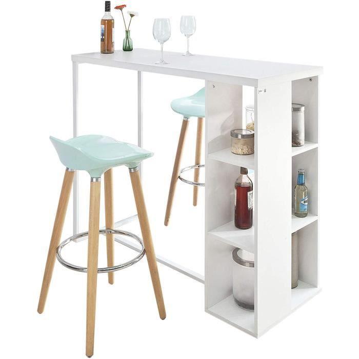 ® FWT39-W Table Haute de Bar Table de Bar Mange-Debout Cuisine avec 3 Étagères de Rangements – Blanc,46