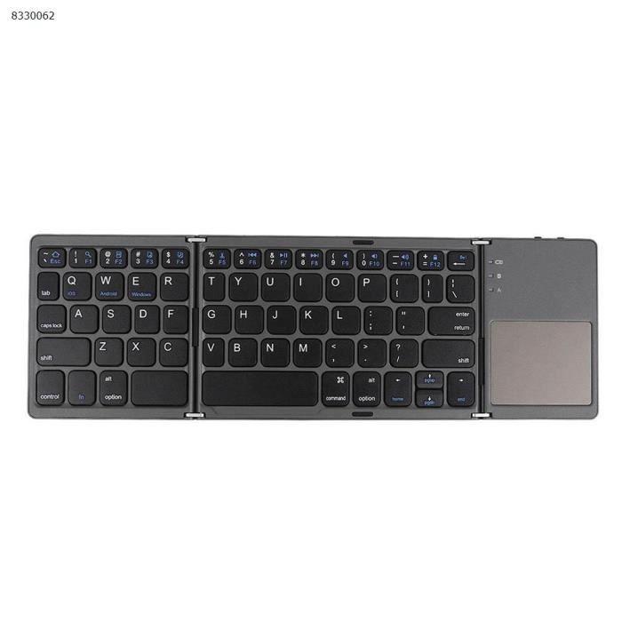 Trois système universel triple avec tablette tactile pour téléphone portable ordinateur sans fil Bluetooth mini clavier pliant noir