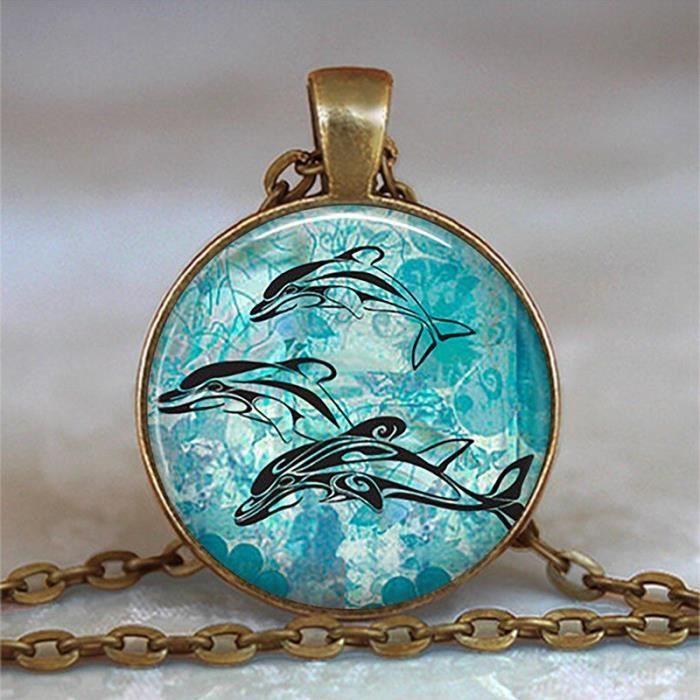 Bleu océan étoile de mer tortue dauphin couleur argent bijoux classique verre Cabochon collier et pendentifs m*ES33734