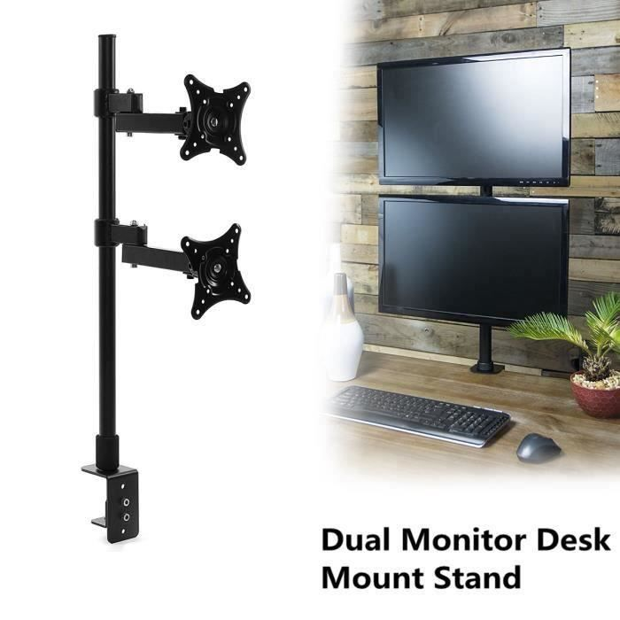 Vertical Support Fixation Double Ecran Moniteur Pr 14 à 24 Bureau Trou Rotation Télescopique Stand My22015