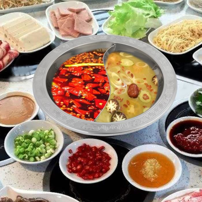 Fondue, casserole, Fondue en acier inoxydable divisée très épaisse pour fondue chinoise de marmite à induction-HEN