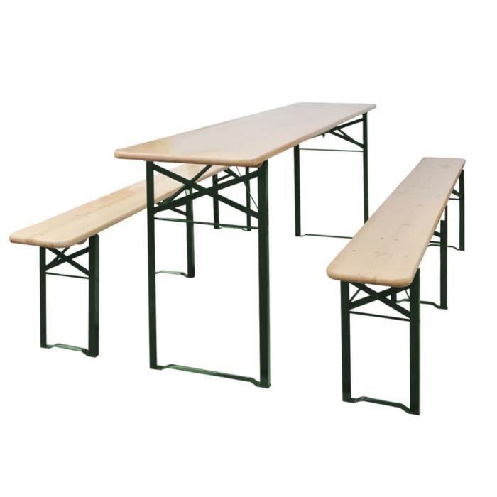 Duokon Table de brasserie pliable avec 2 bancs 220 cm Bois de sapin