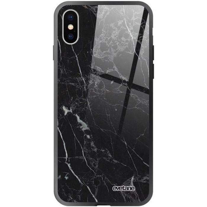 Coque en verre trempé pour iPhone Xs Max Marbre noir Ecriture Tendance et Design Evetane.