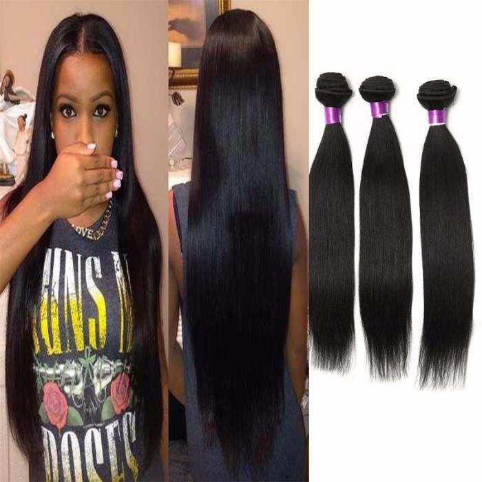 """3 Tissage Bresilien 1b Naturel Couleur Humain Remy Hair Lisse Straight Extension Cheveux Naturels 100g-Pc 30""""32""""34""""POUCES"""