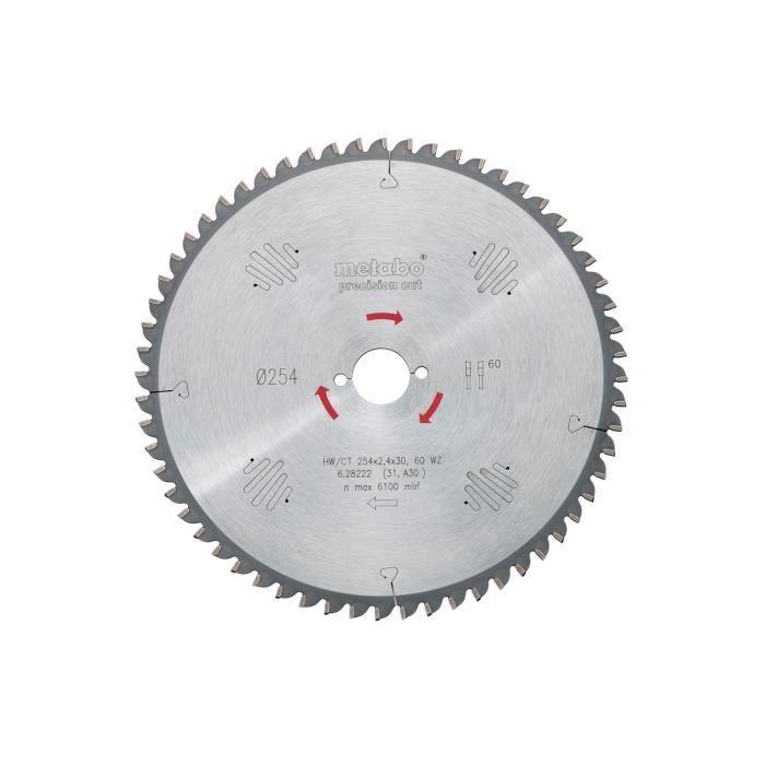 Metabo - Lame de scie circulaire HW/CT 254x2,4x30 mm 40 WZ