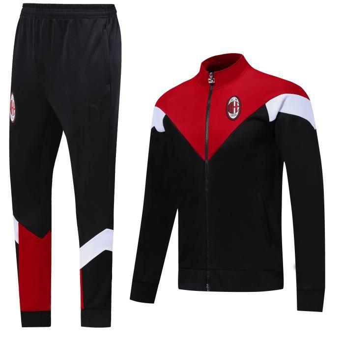 Nouveau Veste à Manches Longues AC Milan Survêtement 2020 2021 Survet Pas Cher Survêtement Training pour Homme