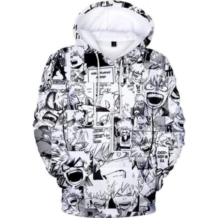 SWEAT-SHIRT Mixte - Sweatshirt à capuche imprimé mode My Hero Academia Adulte - blanc YG™