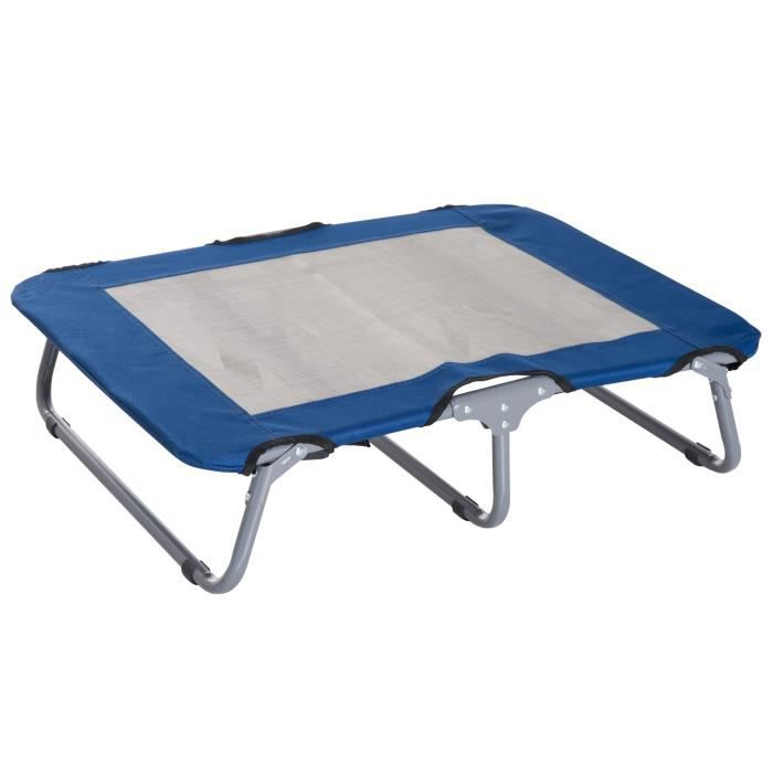 Lit sur pieds grand confort pliable pour chien chat 71L x 58l x 18H cm acier tissu oxford 600D acier bleu 04BU 71x58x18cm Bleu