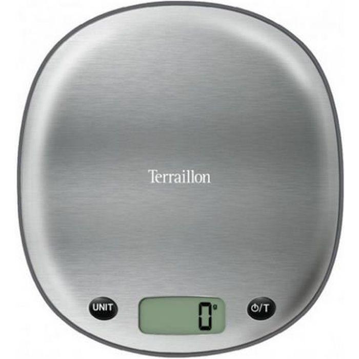 TERRAILLON Balance de cuisine électronique Macaron - 5 kg - Inox réglisse