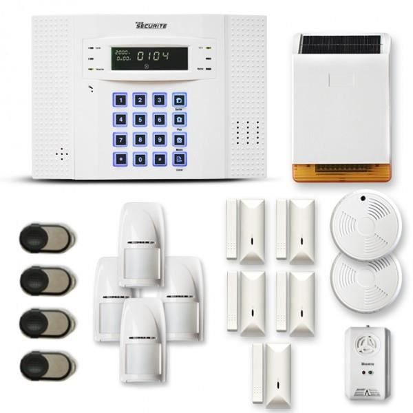 Alarme maison sans fil DNB 4 à 5 pièces mouvement + intrusion + détecteur de fumée + gaz + sirène extérieure solaire - Compatible Bo