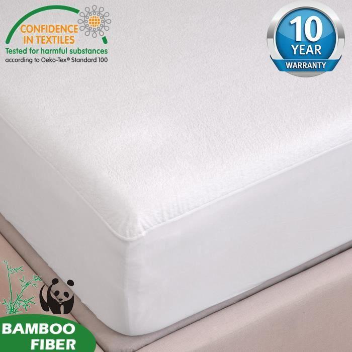 TOFERN Protège Matelas 160 x 190 - 200 Bambou 100% Imperméable Anti-acariens Antibactérien Respirant Forme Drap Housse beige
