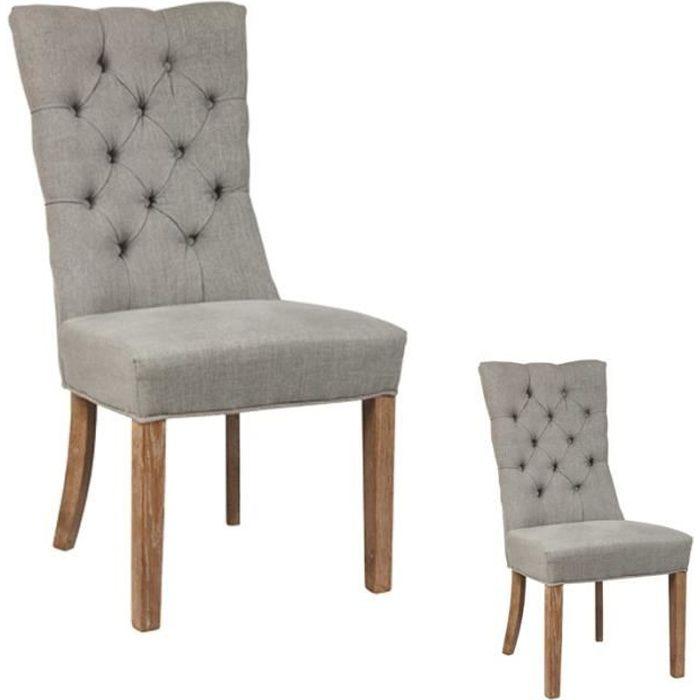 Duo de chaises capitonnées - LORDY - L 52 x l 58 x H 102 cm