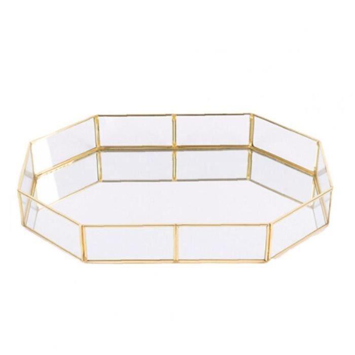 Type de polygone Verre Place de rangement en verre Bijoux Organisateur Plateau de verre d'or Accueil Taille Décorative S