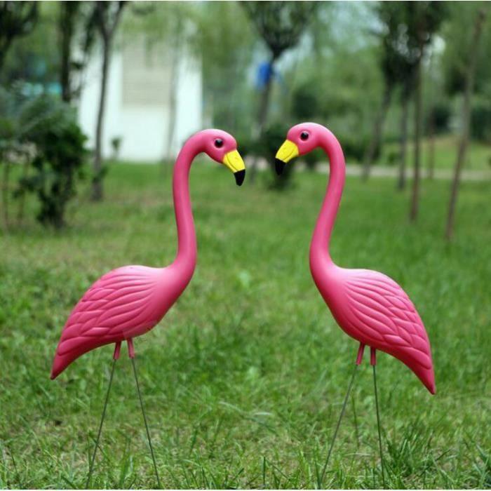 Flamant rose decoration jardin exterieur - 1 paire Bird figurine pour  pelouse étang Décoration de fête