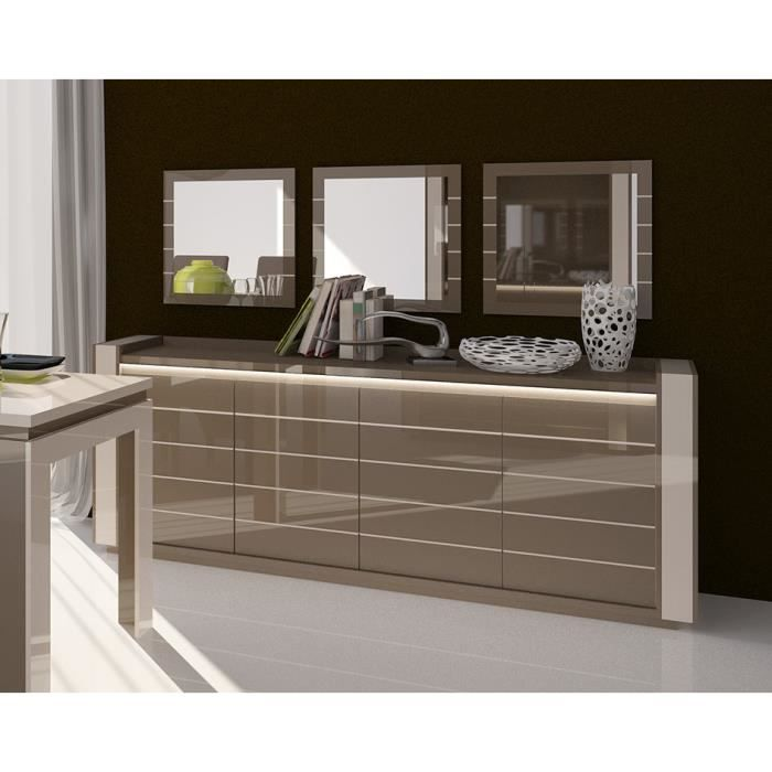 buffet lina cappuccino avec led 3 miroirs achat. Black Bedroom Furniture Sets. Home Design Ideas