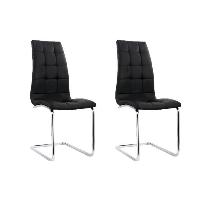 lot de 2 chaises noir design confortable achat vente chaise simili acier chrom les. Black Bedroom Furniture Sets. Home Design Ideas