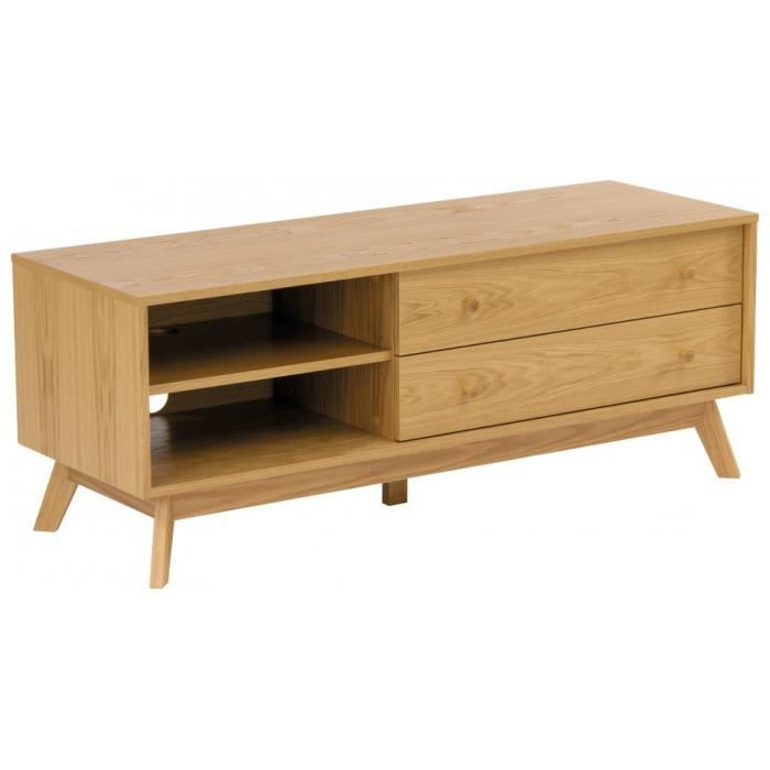 Meuble tv scandinave ch ne naturel 2 tiroirs 2 niches achat vente meuble - Meubles tv scandinave ...