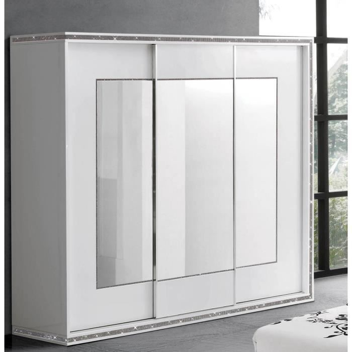 armoire miroir 3 portes coulissante blanc laqu et strass achat vente armoire de chambre. Black Bedroom Furniture Sets. Home Design Ideas