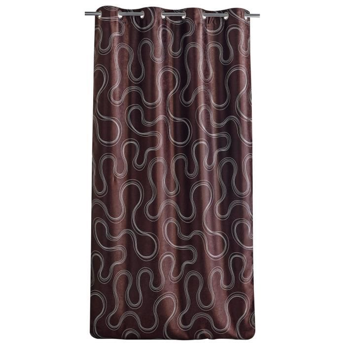 double rideau occultant motif sinueux 140x260cm chocolat achat vente rideau 100 polyester. Black Bedroom Furniture Sets. Home Design Ideas