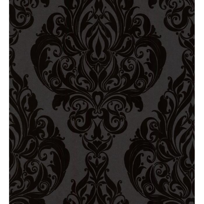papier peint flock intiss vintage noir 52cm x 10 05m. Black Bedroom Furniture Sets. Home Design Ideas