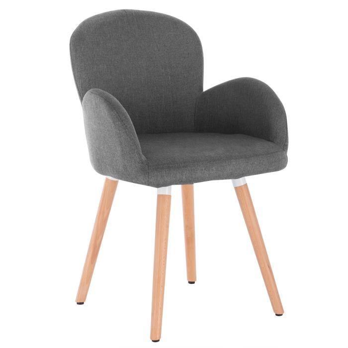 1 X salle à lin de cuisine en foncé Chaise de bois massifGris salonsiège en WOLTU bien rembourré pieds Chaise Chaise de manger qUGSzpMV