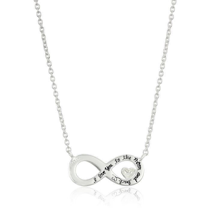 Jewel Panda Ster. Argent I Love You Moon Back Infinity Symbole Collier Cristal Accent