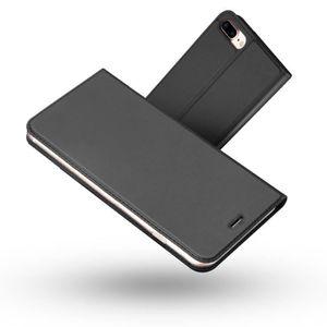 Coque iphone 7 plus cuir noir clapet