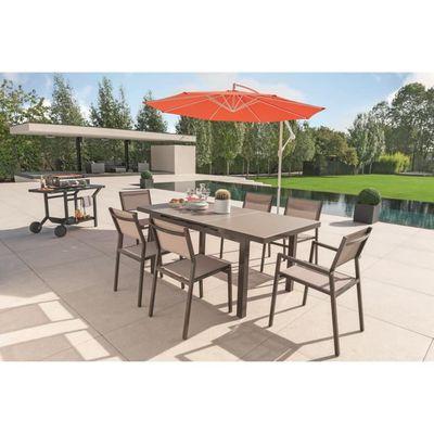 Table extensible mia avec plateau verre structuré 180-240x100cm - EZEIS