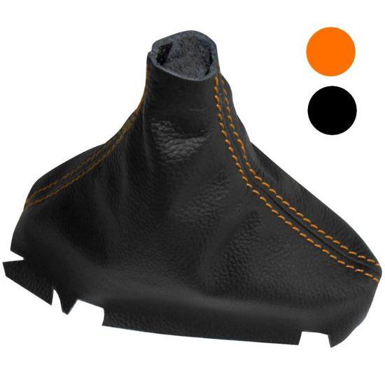 Levier Soufflet en cuir v/éritable noir couture orange