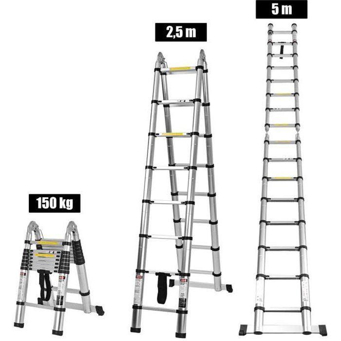 COSTWAY Echelle Télescopique 5M(2,5M + 2,5M) en Aluminium avec 16 Echelons Charge 150KG Réglable 90-500CM avec Barre Stabilisatrice