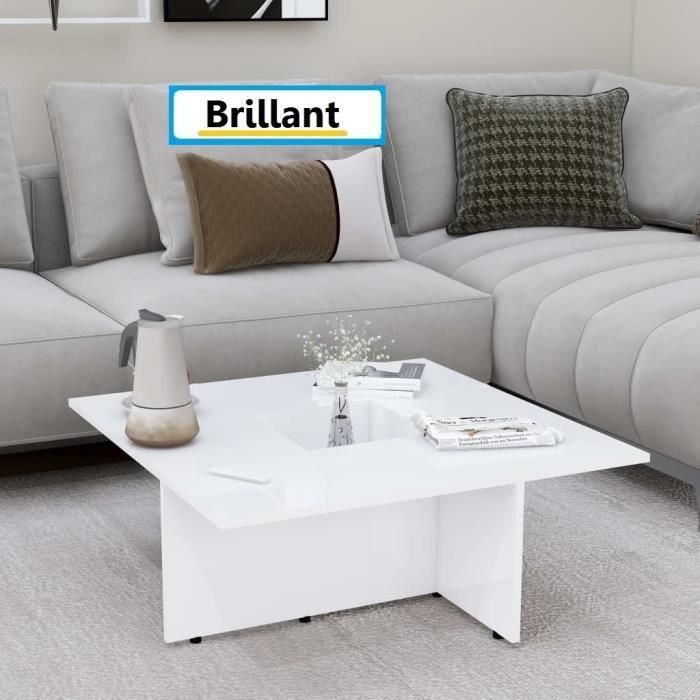 Table Basse Laquée De Salon 79x79cm Blanc Brillant (aggloméré) Design Carré