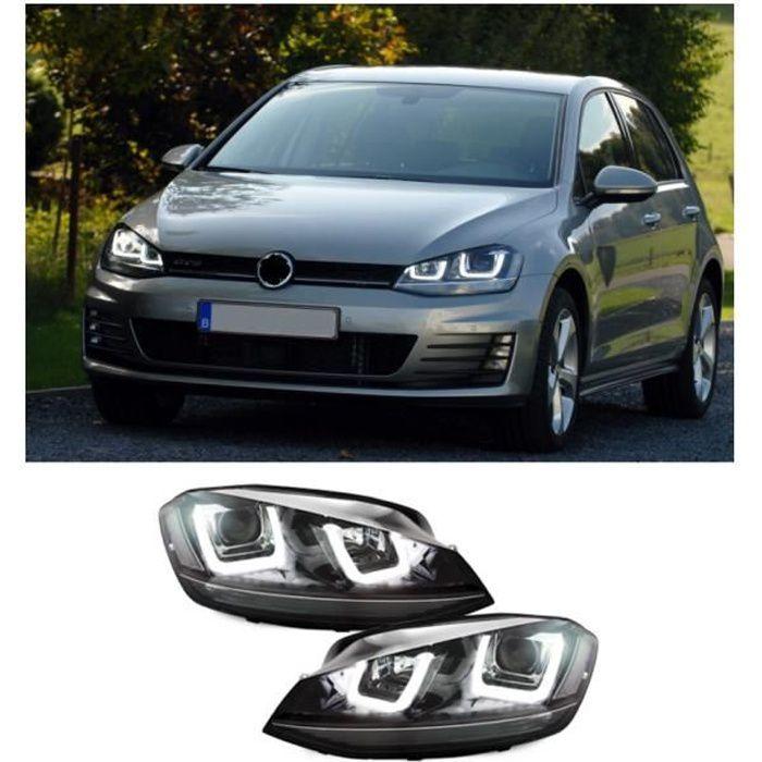 2 FEUX PHARE AVANT NOIR LED POUR VW GOLF 7 AVEC FEUX DE JOUR LED