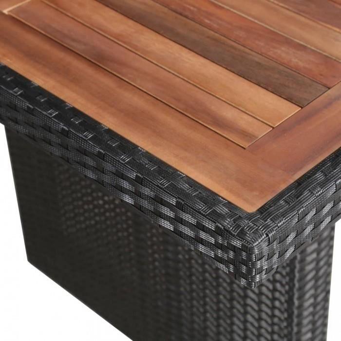 Tables d'exterieur vidaXL Table a manger d'exterieur Resine tressee et bois 240x90x74 cm