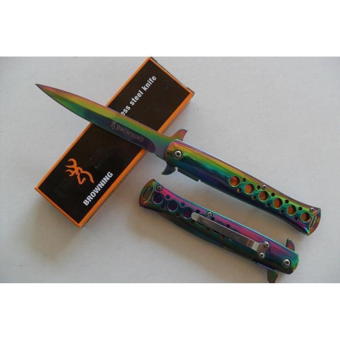 LaPetiteCaverne - Couteau Style Titane -BROWNING- Lame Fine 10cm Manche Acier Chromé 12,5cm