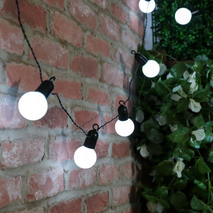 Guirlande Lumineuse Décorative Festoon Style Ambiance Guinguette 20 Ampoules Boules LED Blanches 5 Mètres Intérieur / Extérieur