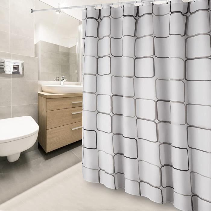 Rideau de Douche Anti-moisissure Imperméable avec des Crochets, Antibactérien, Lavable en Machine 180 x200cm