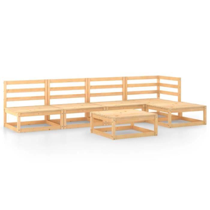 NEUF NEUF Salon de Jardin Extérieur 6 pcs Bois de pin massif®8459