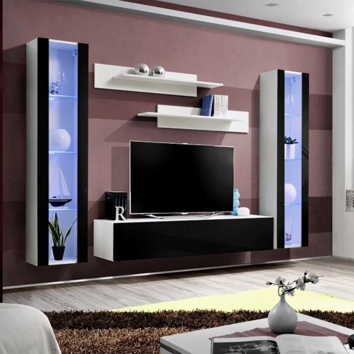 Ensemble TV mural blanc et noir JANINA Blanc L 260 x P 40 x H 190 cm