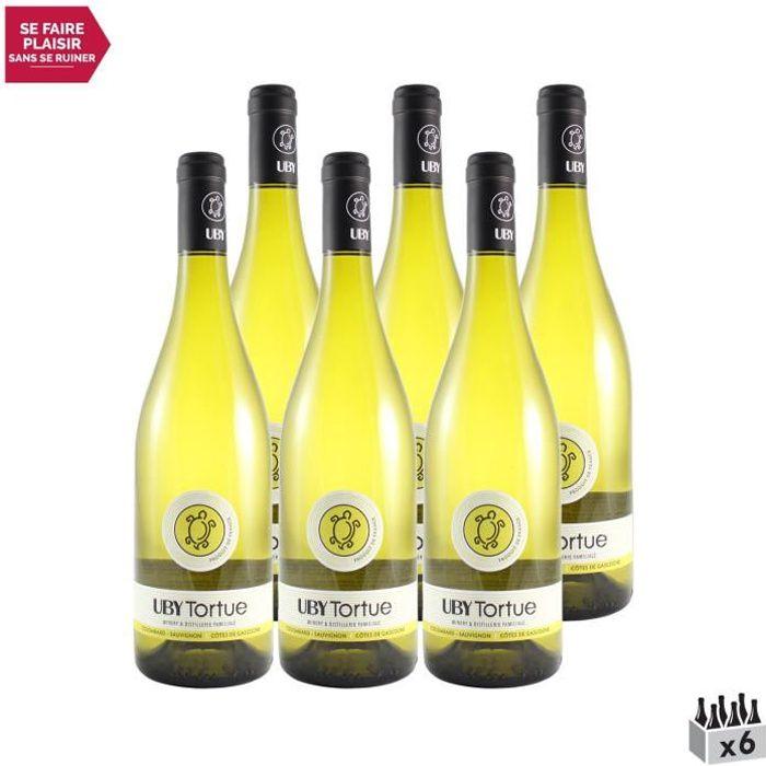 Les Tortues Colombard Sauvignon Côtes de Gascogne Blanc 2020 - Lot de 6x75cl - Domaine d'Uby - Vin IGP Blanc du Sud-Ouest