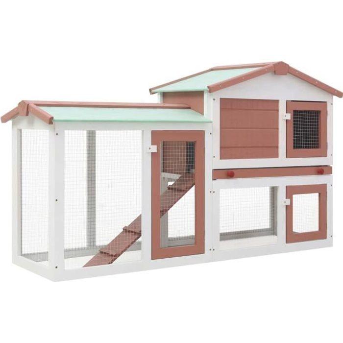 Clapier lapin d'extérieur - Cage Clapier lapin Cage de transport Gris Marron et blanc 145x45x85 cm Bois Excellent ♫41097