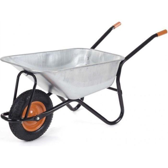 Brouette renforcée brouette de chantier ou jardin, 100 litres max 200kg