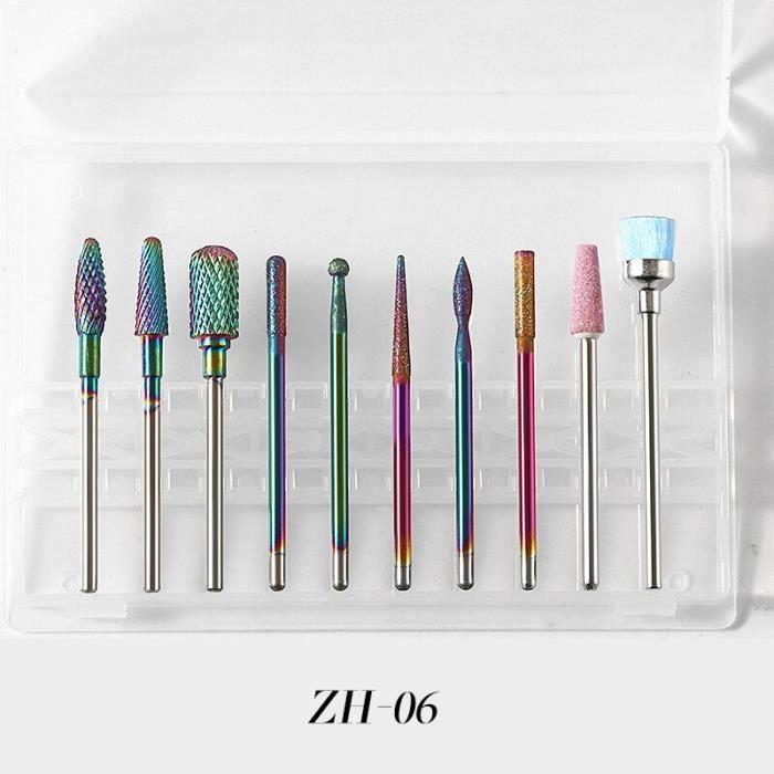 6 -Embouts ponceuse à ongles en céramique électrique, 10 pièces-boîte, tête rotative pour manucure et pédicure, nettoyage des cuticu