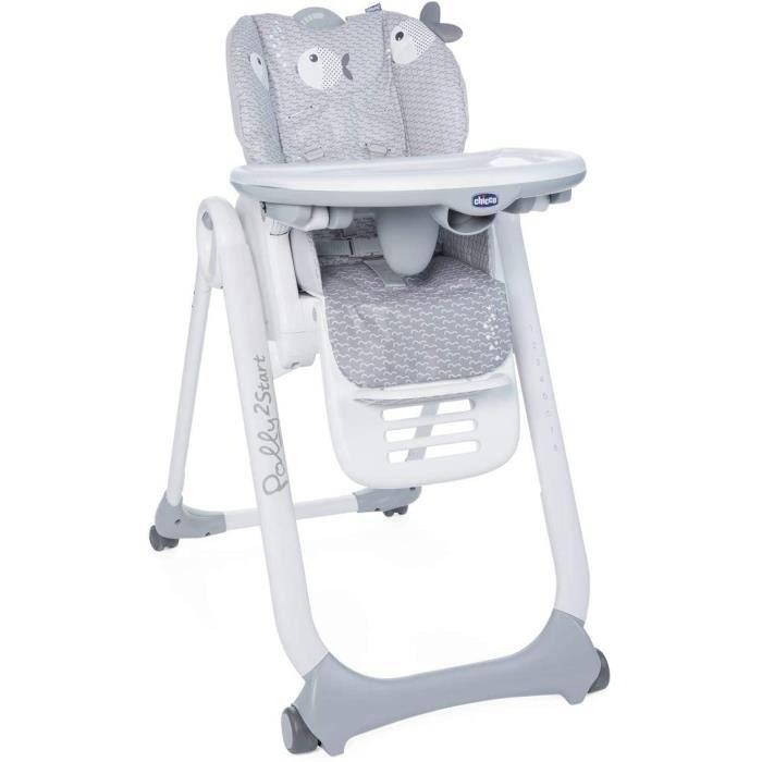 Chicco Polly 2 Start Chaise Haute pour Bébé de la Naissance à 3 ans (15 kg), Réglable, 4 Roues, Dossier Entièrement Inclinable en Tr
