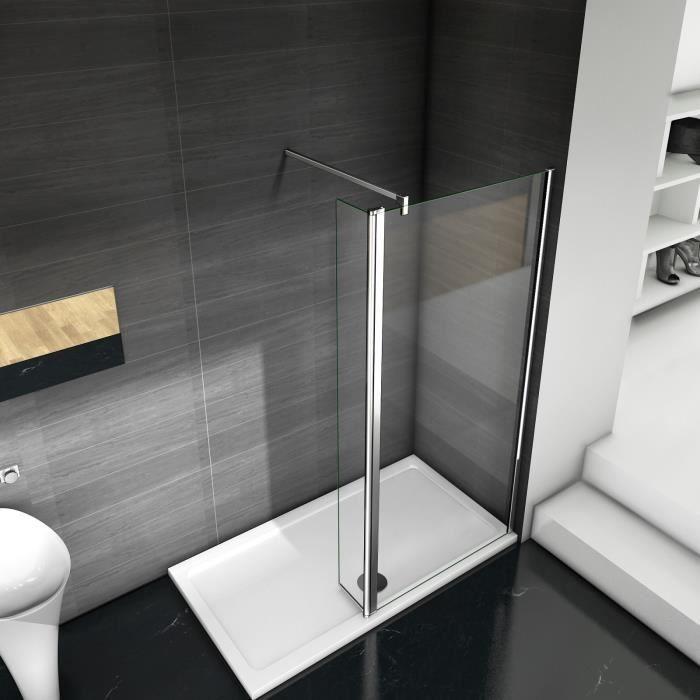 Paroi de douche avec volet pivotant 60+30x200cm modèle d' Itaroi avec une barre 70-120cm