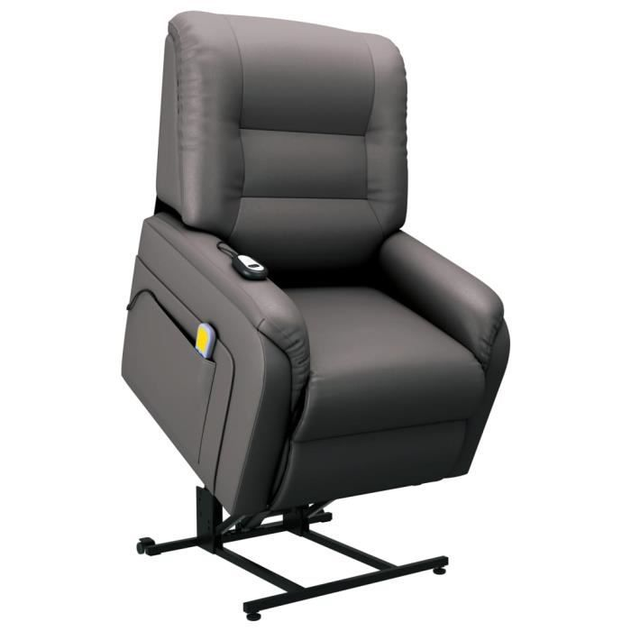 Top Fauteuil Relaxation de Massage inclinable - Fauteuil de relax Fauteuil Relax TV électrique Gris Similicuir ☺621316