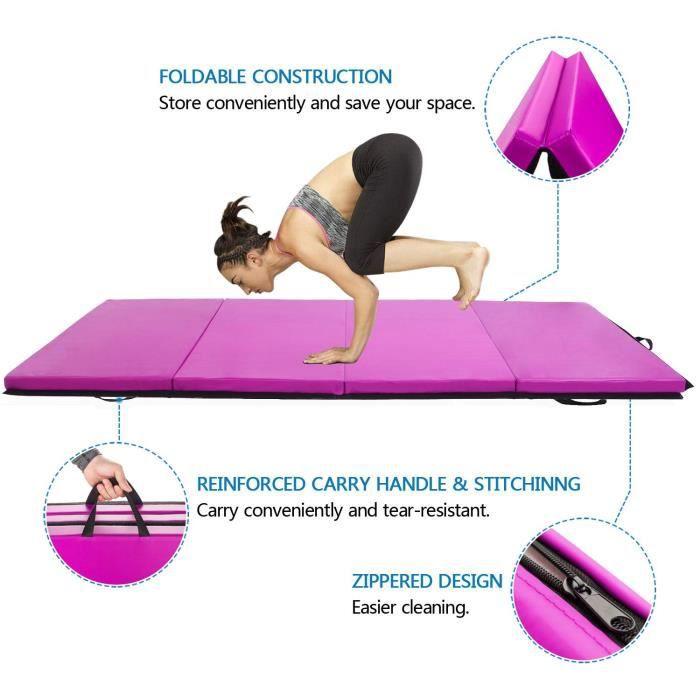 C3N 240*120*5cm Tapis de Gymnastique Pliable-Violet
