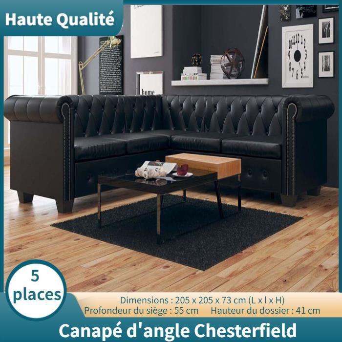 Canapé d'angle Chesterfield 5 places Contemporain Sofa salon Confortable Cuir synthétique Noir -WAN